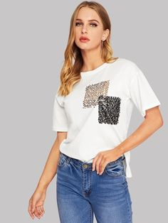 Casual Regular Fit Round Neck Short Sleeve Pullovers White Regular Length Contrast Sequin Tee in 2020 T Shirt Diy, Sweat Shirt, T Shirt Painting, T Shirts For Women, Clothes For Women, Diy Clothes, Beach Clothes, Blouse Designs, Cool T Shirts