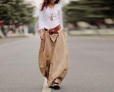 Cool Baggy Maxi Skirt Linen cotton 50