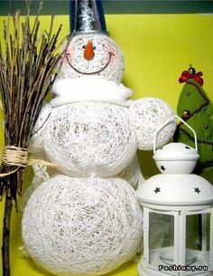 DIY String SNOWMEN