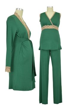 eaf6a76056c9b Baju Mama 3-pc. Emma Modal-Lace Sleeveless Nursing PJ & Robe Set (Hunter  Green/Cream Lace)