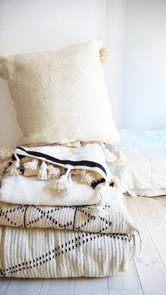Large Moroccan POM POM pillow cover - wool natural undyed  Each of cushions cover is cut from an Wool Blanket, handwoven in Morocco on traditional