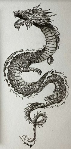 Dragon Tattoo Chest, Dragon Tattoo Drawing, Black Dragon Tattoo, Dragon Sleeve Tattoos, Japanese Dragon Tattoos, Dragon Tattoo Around Arm, Cool Dragon Drawings, Dragon Tattoo Stencil, Dragon Hand Tattoo