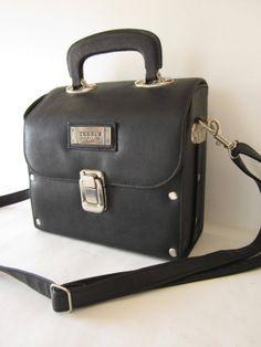 French 90s VTG black vegan leather box trunk by laminuinette, $39.00