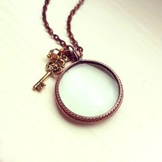 Magnifying glass necklace, Antique Copper-plated Monocle Pendant, Gold / Silver key pewter charm