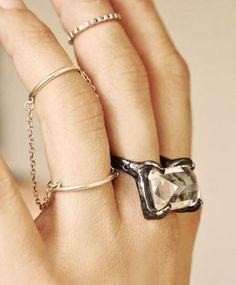 Lyrae Sapphire & Quartz Ring