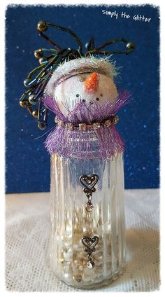 "Snowman Assemblage, Vintage Salt Shaker Snowman ""Vera"", Glass shaker, glitter snowman decoration, Christmas Collectible, Snow Lady, Original by SimplyTheGlitter on Etsy"
