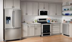 Counter depth refrigerators, like the one shown here, can save on space and still provide adequate refrigerator and freezer space in multifamily housing units.
