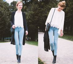 Truffle Ankle Boots, Asos Skinny Jeans / Jeggings, Asos Long Blazer, Asos Lace Poncho, Asos Perfume Bag
