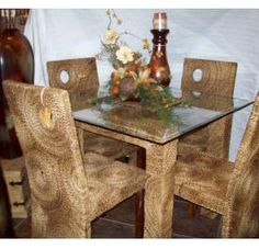 International Caravan U0027Bayuu0027 Woven Abaca/ Seagrass Dining Chairs With  Mahogany Hardwood Frame (Set Of 2) By International Caravan