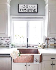 60 fancy farmhouse kitchen backsplash decor ideas (16)
