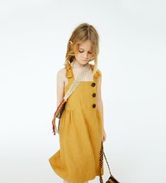Image 1 of BUTTONED LINEN DRESS from Zara Preteen Girls Fashion, Baby Girl Fashion, Fashion Kids, Cute Girl Outfits, Kids Outfits, Zara Mode, Kids Wardrobe, Jumpsuits For Girls, Zara Fashion