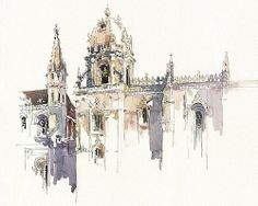 Items similar to Art Print on Watercolor Paper - Historic Lisbon - Urban Sketching - Plein Air Painting - Marc Taro Holmes - Jerónimos Monastary - on Etsy Watercolor Sketchbook, Art Sketchbook, Watercolor Art, Art Et Architecture, Watercolor Architecture, Classical Architecture, Urban Sketchers, City Sketch, Illustration