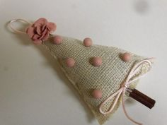 burlap ornament with cinnamon stick tree trunk