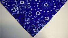 Dog Bandana/Scarf Tie On Country Western Blue Custom Made by Linda  xS, S, M, L #custommadebyLinda