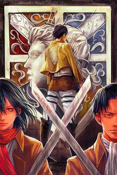 Shingeki no Kyojin , Ackerman , epic art !!! - Mikasa , Levi