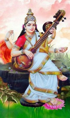 Goddess Saraswathi is the Hindu goddess of education, music, arts, knowledge and learning. Find a good collection of Goddess Saraswati images & wallpapers. Saraswati Photo, Saraswati Mata, Saraswati Goddess, Durga Maa, Goddess Art, Saraswati Vandana, Kali Goddess, Saraswati Painting, Tanjore Painting