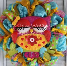 Adorable Owl wreath just in time for by CustomWreathsAndMore, $65.00