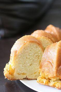 Peach Vanilla Bean Bundt Cake with a Peach Soaking Syrup