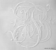 Articles vendus > Monogrammes, dentelles ... > LINGE ANCIEN/Belle découverte de drap ancien brodé main avec monogramme JB pour couture patchwork - Linge ancien - Passion-de-Blanc - Textiles anciens