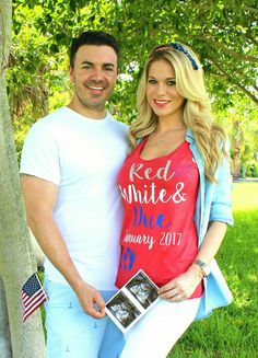 4th of july pregnancy announcement!  Red, white and DUE !