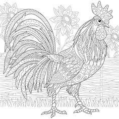 Stock vector of 'Zentangle stylized cartoon rooster (cock) and sun flowers. Hand drawn sketch for adult antistress coloring page, T-shirt emblem, logo or tattoo with doodle, zentangle, floral design elements.'