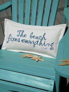 """The cure for anything is salt water -- sweat, tears, or the sea."" The beach fixes everything! Cute pillow for a beach house. Ocean Beach, Beach Day, Beach Room, Beach Trip, Beach Vacations, Blue Beach, Sanibel Beach, Sanibel Florida, Surf Room"