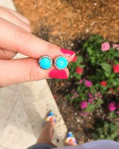 bc7c5831b Jaimie Nicole Turquoise Pave Stud Earrings – Online Jewelry Boutique  Earrings Online, Stone Earrings,