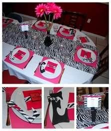 girls birthday party ideas - Need turquoise instead of pink Zebra Birthday, Adult Birthday Party, 13th Birthday, Girl Birthday, Birthday Ideas, Birthday Gifts, Zebra Party Decorations, Baby Shower Decorations, Table Decorations