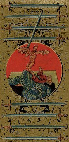 Nine of Swords - Golden Tarot of the Tsar by Atanas Alexandrov Atanassov