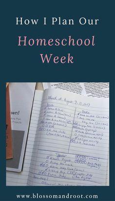 Homeschool planning, homeschool schedule, homeschool routine, how I plan our homeschool week