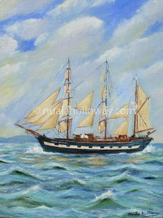 """Famine Ship - Jeanie Johnston"" - By Nuala Holloway - Oil on Canvas (Presented to U. President Barack Obama on his first official visit to Ireland in Barack Obama, Sailing Ships, Seaside, Oil On Canvas, Ireland, Boat, Dinghy, Beach, Painted Canvas"