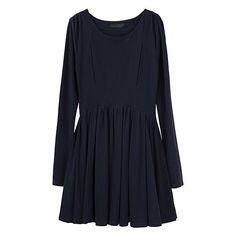 Full Dress ($555) ❤ liked on Polyvore featuring dresses, vestidos, short dresses, blue, women, long sleeve short dress, long sleeve dress, ruched dress, full pleated skirt and blue cotton dress