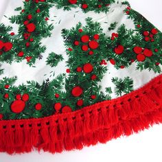 Holly And Pine Round Tablecloth Or Tree Skirt With Yarn Fringe Christmas