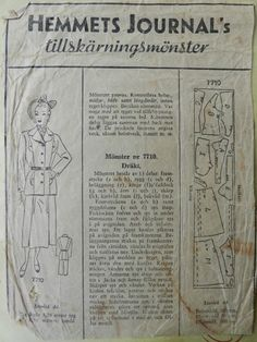Hemmets Journal's tillskärningsmönster 7710. Sewing Patterns, Journal, Personalized Items, Retro, Vintage, Velvet, Vintage Comics, Patron De Couture, Retro Illustration