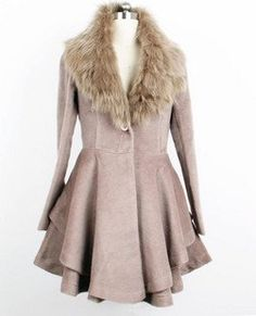 real fox fur collar, wool worsted coat/dress