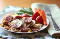 Easy Dinners in Under 30 Minutes Herbed Potatoes With Kielbasa and Corn: Throw some sausage and veggies together and sauté for an easy dinner dish… not to mention all the possibilities for variations here.