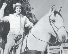 """Dale Evans on """"Buttermilk""""....a Gelding that was Rescued from the Slaughterhouse by a farmer. Meaner than Mean, it took time  patience for this Purebred Quarter Horse to Become a Loving Trusting Horse that Dale Evans Decided to Purchase as Her Own (like Roy did)..Called Him Buttermilk because of a pattern in the clouds 1 day. Buttermilk was Faster than Trigger  Roy had to ask Dale to Hold him back as Trigger was supposed to always be out front. Buttermilk lived to be 31 yrs old, like…"""