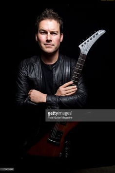 Ryan Peak, rhythm guitarist of Canadian rock band Nickelback, photographed during a portrait shoot for Total Guitar Magazine, October 7, 2012.