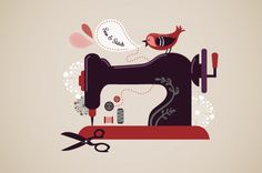 26 Super Ideas For Sewing Machine Illustration Costura Sewing Art, Sewing Toys, Sewing Crafts, Vintage Sewing Machines, Vintage Sewing Patterns, Sewing Machine Tattoo, Sewing Projects For Kids, Sewing Studio, Jolie Photo