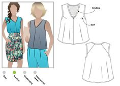 "The Style Arc Vicki top is a lovely summer top.  Their website describes it as follows: VICKI TOP: This fashionable swing top looks great worn with your crop pants. The ""V"" neck and Interesting bac…"