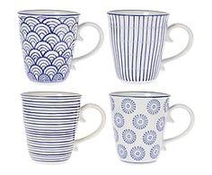 4 Mugs BERGENO porcelaine, bleu et blanc - H12