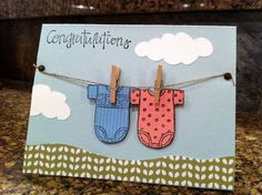 Twin onesies on the line by rbright - Cards and Paper Crafts at Splitcoaststampers