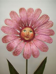 Primitive Folk Art Paper Mache Daisy Art Doll Container.
