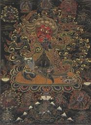 A blackground thangka of Begtse Chen  Mongolia, 18th/19th century  Depicting the red-faced wrathful deity holding a human heart to his growling mouth and a flaming sword in his upraised hand, dressed in full armor and a flowing cloak richly detailed in gold, with Amitabha, Padmasambhava, and Bramarupa above, and Rahula and the five healing sisters below Opaque pigments and gold on textile 39 x 28¼ in. (99 x 72 cm.)