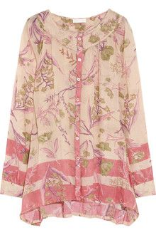 Donna Karan New York Floral Print Cotton and Silk Blend Shirt in Pink (floral)