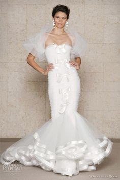 Oscar de la Renta wedding dress Fall/Winter Bridal collection - ruched tulle strapless mermaid gown with satin ribbon trim