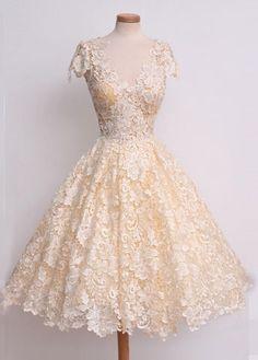 Long Princess V-Neck Lace Short/Mini Prom Dresses 2017
