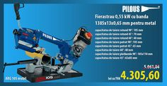 Fierastrau monofazat 0,55 kW cu banda 1385x13x0,65 mm pentru metal ARG 105 mobil PILOUS