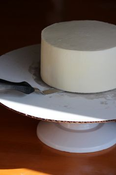 moving the buttercream-iced cake with spatula