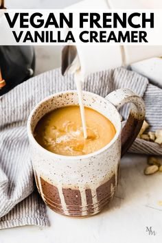 This creamy cashew coffee creamer is made with raw cashews, water, maple syrup, vanilla, and salt. Just 5 simple ingredients for a delicious vegan coffee creamer to have at home! #movementmenu #vegan #coffee #coffeecreamer #cashews Delicious Vegan Recipes, Healthy Breakfast Recipes, Healthy Drinks, Keto Recipes, Vegan Coffee Creamer, French Vanilla Creamer, Recipes With Marshmallows, Coffee Recipes, Dessert Recipes